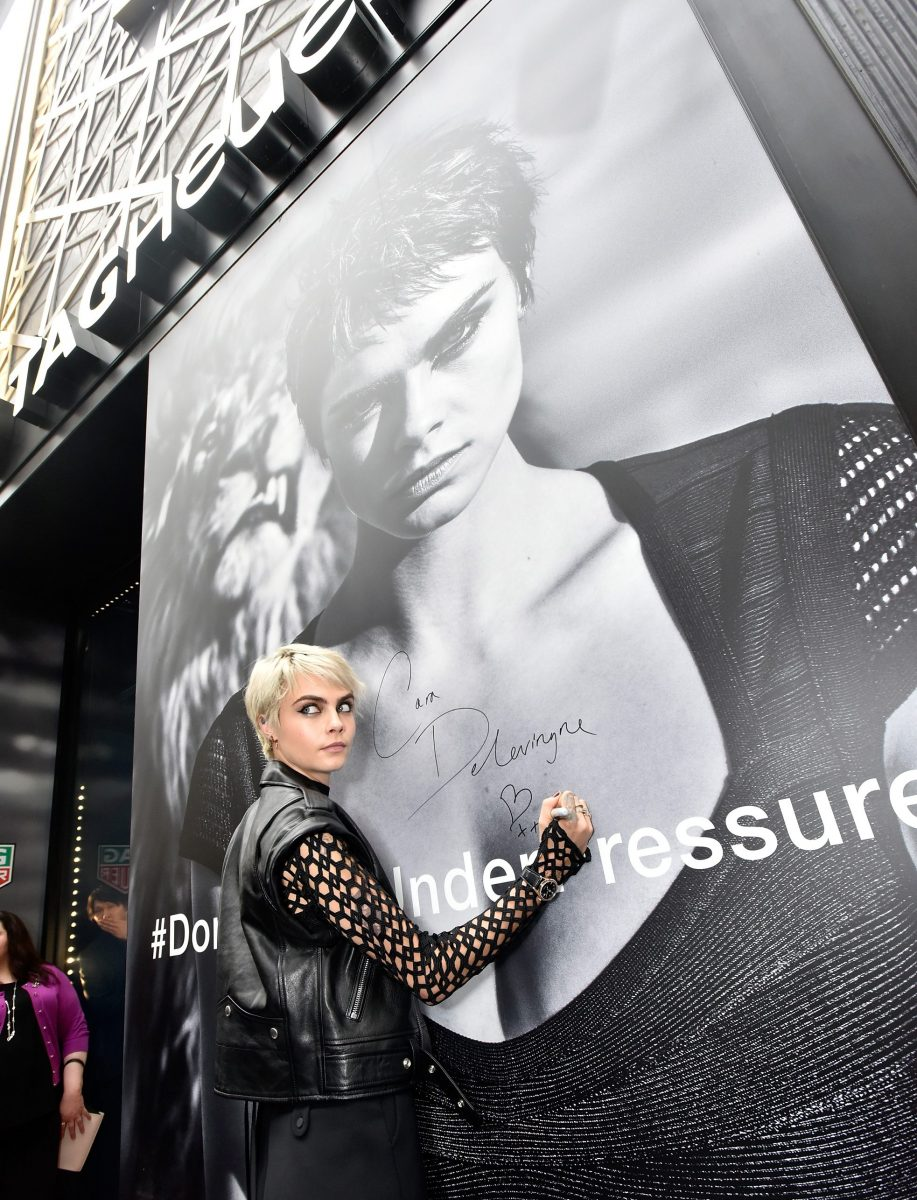 TAG Heuer launch #DontCrackUnderPressure Campaign in Times Square with Cara Delevingne