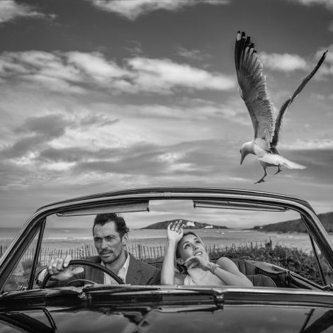 Bodega Bay  It was nearly a year ago when we started planning to create a Hitchcock inspired series in Devon, England.  This photograph is a play on the Hitchcock masterpiece - The Birds. The photograph places British models David Gandy and Bella di Lorenzo in a banged-up 1961 Sunbeam Rapier with the Atlantic Ocean as the backdrop. I know the area well and the image was easy to preconceive, but damn hard to capture.  The topography of the coast here in Devon is not dissimilar to the film location of Bodega Bay in northern California and I found a road location that would work well with the morning light. I wanted a big sky and a layered narrative, so I knew long before we shot that I would be working with a wide-angle lens from the car bonnet, with limited depth of field. I rather liked the fencing behind as well - so reminiscent of the opening scene in Jaws - 2 iconic horror films rolled into one.  David is a total professional and Bella is an intelligent young star who can assume a role quickly, so the problem was always going to be the gull. They are not shy in this part of the world and regularly dive-bomb our dog. But getting seagulls to dive - in the way they did with Tippi Hedren in the movie - was a challenge, especially in a limited time period.  The eye to eye contact is bang on - better than we could have hoped for and I think everyone did a very solid job.